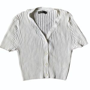 Shein NWOT White Ribbed Tee Button Down